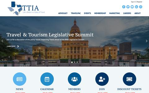 Screenshot of Home Page ttia.org - Texas Travel Industry Association - captured Nov. 19, 2018