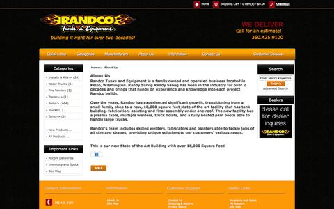 Screenshot of About Page randcotanks.com - About Us : Randco Tanks & Equipments, Building It Right For Over a Decade! - captured Nov. 4, 2014