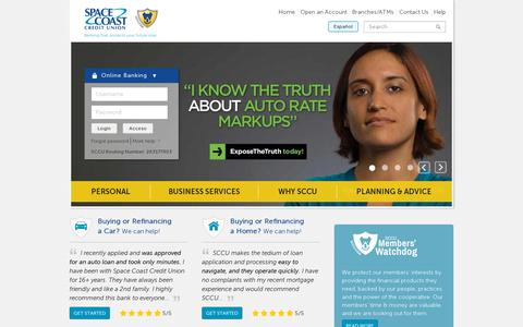 Screenshot of Home Page About Page Privacy Page Contact Page Press Page Jobs Page Terms Page Locations Page sccu.com - Home | Space Coast Credit Union - captured July 11, 2014