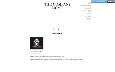 Screenshot of Contact Page the-company-management.com - THE COMPANY MGMT - captured May 5, 2016