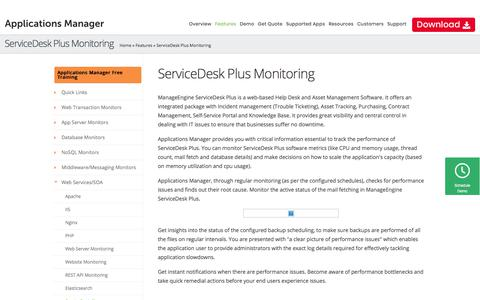ServiceDesk Plus Monitoring