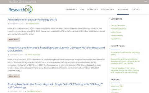 Screenshot of Blog researchdx.com - Blog/News – ResearchDx - captured Oct. 20, 2018
