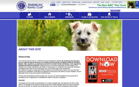 Screenshot of Terms Page akc.org - American Kennel Club - AKC Web Site Privacy Statement - captured Sept. 18, 2014
