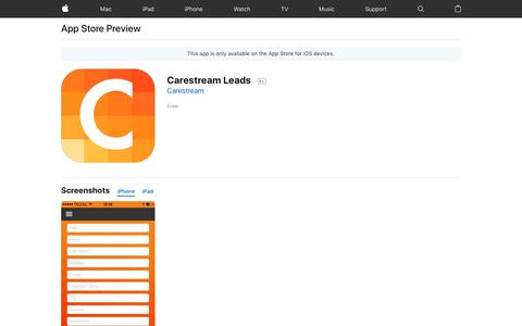 Carestream Leads on the AppStore