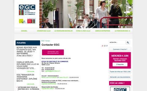 Screenshot of Contact Page egc-lille.com - Contacter EGC - captured Oct. 2, 2014