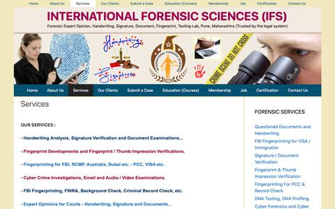 Screenshot of Services Page forensic.co.in - Services - INTERNATIONAL FORENSIC SCIENCES (IFS) - captured Oct. 2, 2018