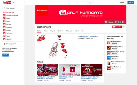 Screenshot of YouTube Page youtube.com - cajahuancayo  - YouTube - captured Oct. 22, 2014