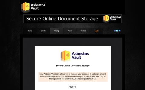 Screenshot of Pricing Page asbestosvault.com - Pricing - captured Dec. 26, 2015