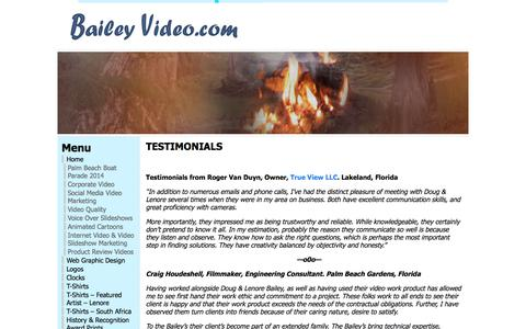 Screenshot of Testimonials Page baileyvideo.com - Testimonials « Bailey Video - captured Sept. 23, 2018