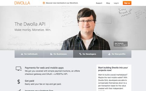 Screenshot of Developers Page dwolla.com - Developers | Dwolla - captured Sept. 15, 2014