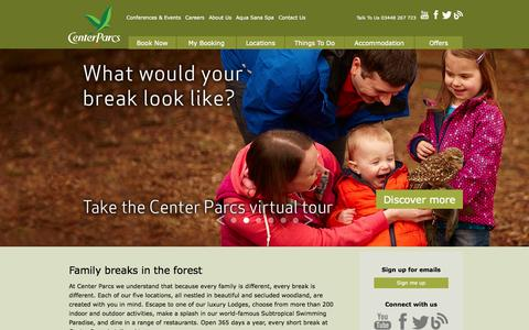Screenshot of Home Page centerparcs.co.uk - Short Family Breaks | UK Breaks at Center Parcs - captured Jan. 26, 2015