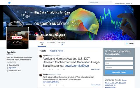 Screenshot of Twitter Page twitter.com - Agnikllc (@agnikllc) | Twitter - captured Oct. 23, 2014