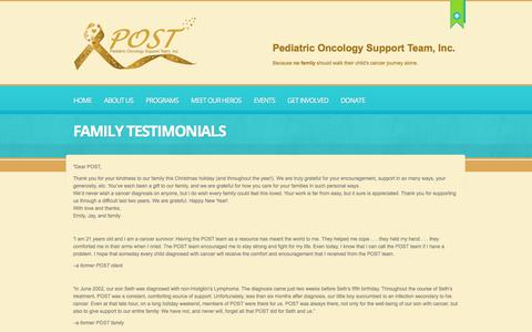 Screenshot of Testimonials Page postfl.org - Family Testimonials  |  POST | Pediatric Oncology Support Team - captured July 19, 2017
