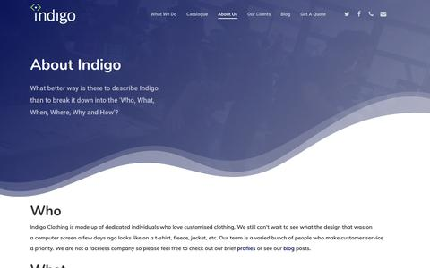 Screenshot of About Page indigoclothing.com - About Indigo Clothing, London Custom Clothing Printers - captured Oct. 21, 2018