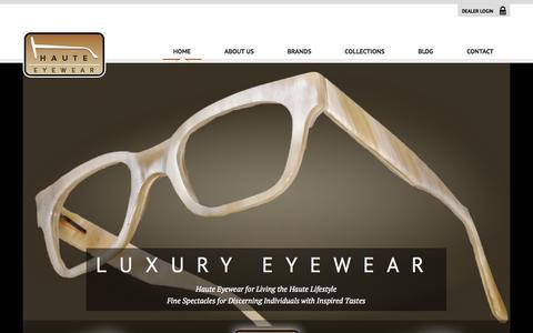 Screenshot of Home Page hauteeyewear.com - Home - Haute Eyewear - captured Sept. 29, 2014