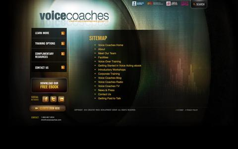 Screenshot of Site Map Page voicecoaches.com - Sitemap | Voice Coaches - captured Nov. 17, 2018