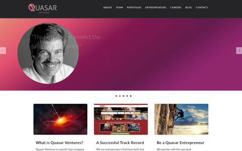 Screenshot of Home Page quasar-ventures.com captured Sept. 17, 2014