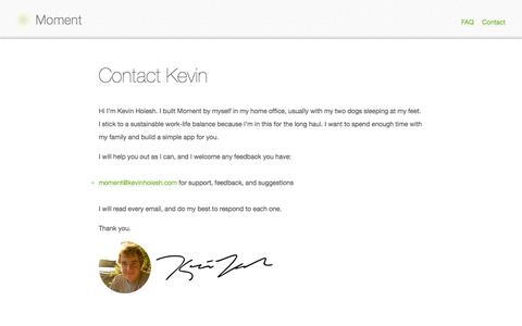 Screenshot of Contact Page inthemoment.io - Contact Kevin - captured Dec. 17, 2014