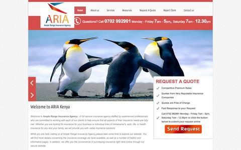 Screenshot of Home Page ariakenya.com - Ample Range Insurance Agency - Ample Range Insurance Agency - captured Oct. 4, 2014