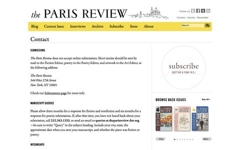 Screenshot of Contact Page theparisreview.org - Contact The Paris Review - captured Sept. 25, 2014