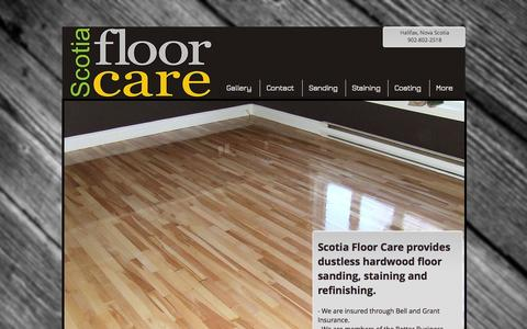Screenshot of Home Page scotiafloorcare.com - Hardwood Floor Refinishing - captured Sept. 30, 2014