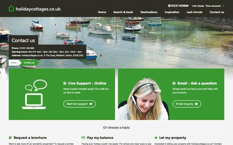 Screenshot of Contact Page holidaycottages.co.uk - Contact us - holidaycottages.co.uk - captured Sept. 23, 2014