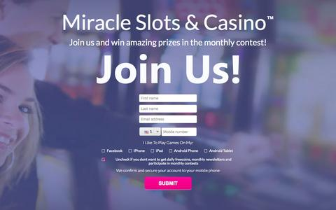 Screenshot of Signup Page miracleslots.net - Join | Miracle Slots & Casino - captured Oct. 2, 2014