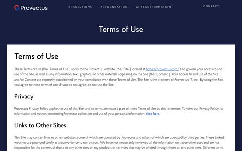 Screenshot of Terms Page provectus.com - Terms of Use - captured Sept. 14, 2019