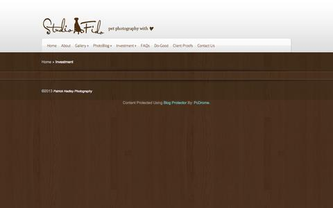 Screenshot of Pricing Page studiofido.com - Investment | StudioFido, Pet Photography with ♥ - captured Oct. 9, 2014