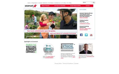 Screenshot of Home Page aramark.com - Food, Facility, and Uniform Services | Aramark - captured Sept. 30, 2014