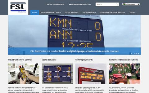 Screenshot of Home Page fslelectronics.com - Scoreboard Displays and Industrial Remote Controls - FSL Electronics Ltd - captured Oct. 5, 2014