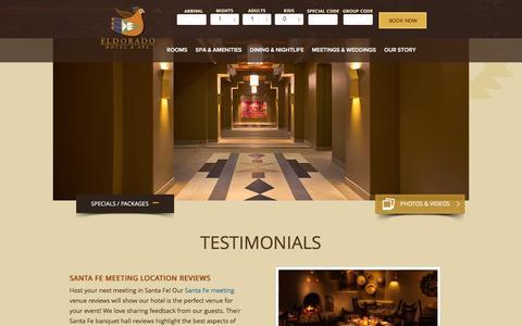Screenshot of Testimonials Page eldoradohotel.com - Santa Fe Banquet Hall, Santa Fe Conference Center - Eldorado Testimonials - captured Jan. 27, 2016