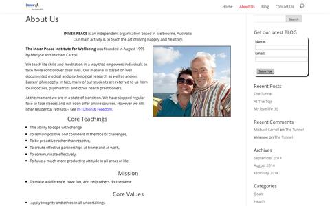 Screenshot of About Page innerpeace.com.au - About Us | Inner Peace - captured Oct. 6, 2014