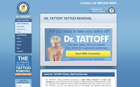 Screenshot of Home Page drtattoff.com - Tattoo Removal Clinics in Many Locations | Dr. Tattoff - captured Sept. 12, 2014