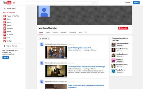 Screenshot of YouTube Page youtube.com - MontanaChamber  - YouTube - captured Oct. 25, 2014