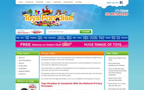 Screenshot of Privacy Page toysparadise.com.au - Privacy Policy - captured Sept. 24, 2014