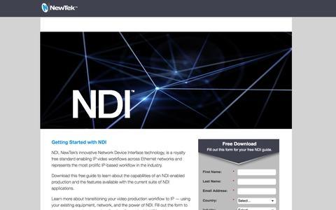 Screenshot of Landing Page newtek.com - NDI Getting Started Guide |NewTek - captured May 3, 2017
