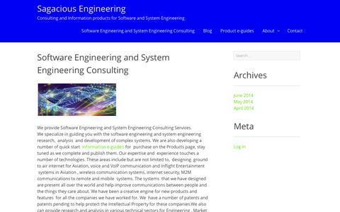 Screenshot of Home Page sagaciousengineering.com - Software Engineering and System Engineering Consulting - Sagacious Engineering - captured Sept. 30, 2014