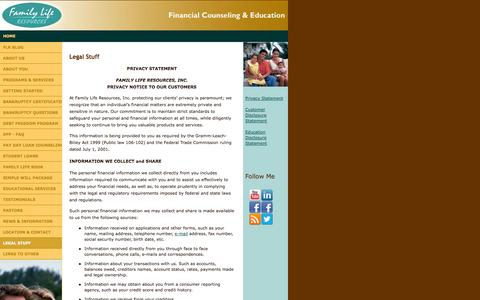 Screenshot of Terms Page flrministry.com - Family Life Resources - Legal - captured Oct. 5, 2014