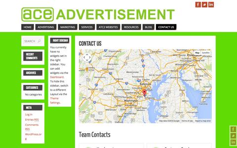 Screenshot of Contact Page ace-advertisement.com - Contact Us   - Ace Advertisement - captured Sept. 30, 2014