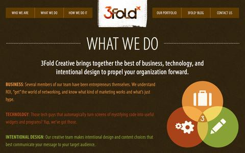 Screenshot of Services Page 3foldx.com - What We Do - 3Fold Creative - captured Oct. 27, 2014