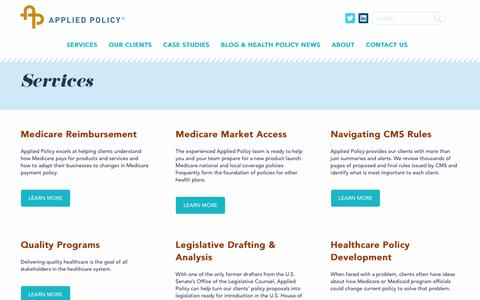 Screenshot of Services Page appliedpolicy.com - Services - Applied Policy - captured Nov. 6, 2018