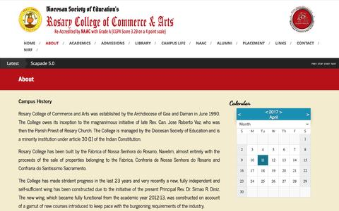 Screenshot of About Page rosarycollege.org - About – Rosary College of Commerce & Arts - captured April 11, 2017