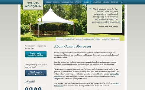 Screenshot of About Page countymarquees.com - Marquee Company London, Surrey, Buckinghamshire... About County Marquees - captured Dec. 12, 2015