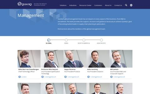 Screenshot of Team Page quintiq.com - Quintiq's Global Management Team - Quintiq - captured July 21, 2014