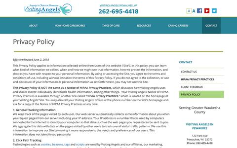 Screenshot of Privacy Page visitingangels.com - Privacy Policy Pewaukee WI - captured Oct. 18, 2018