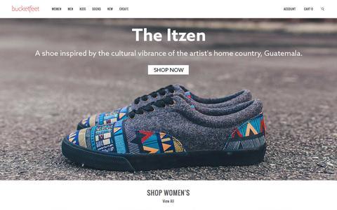 Screenshot of Home Page bucketfeet.com - BucketFeet   Artist Designed Footwear - captured Feb. 4, 2016