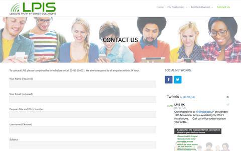 Screenshot of Contact Page lpis-uk.com - Contact Us – Leisure Park Internet Solutions - captured Nov. 10, 2018