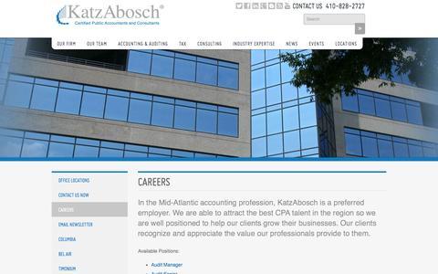 Screenshot of Jobs Page katzabosch.com - Careers - captured Sept. 30, 2014
