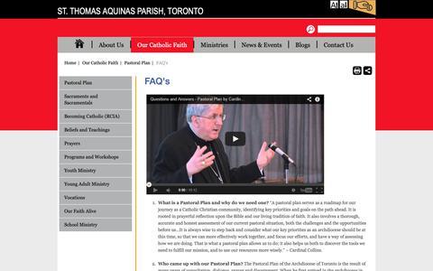 Screenshot of FAQ Page archtoronto.org - St. Thomas Aquinas Parish, Toronto - captured Oct. 25, 2018